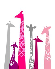 16X20 giraffe silhouettes landscape format giclee by ThePaperNut