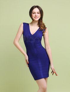 Exquisite Royal Blue Rayon V-Neck Sleeveless Women's Bodycon Dress