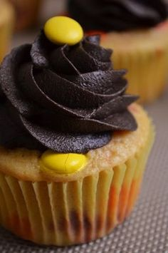 Reeses Pieces Cupcakes- use yellow cake recipe instead of box mix.