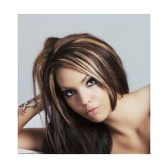 Love the short layer at the face...Ideas from Pictures of Dark Hair with Highlights found on Polyvore