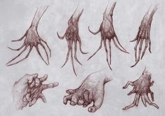 hands by STefan Cordioli on ArtStation. Monster Drawing, Monster Art, Monster Hands, Creature Concept Art, Creature Design, Arte Horror, Horror Art, Creepy Hand, Scary Drawings