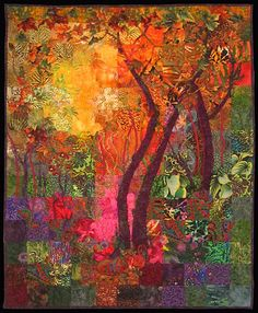 """""""When Trees are Happy"""" art quilt by Carol Bridges.  Beautiful!"""