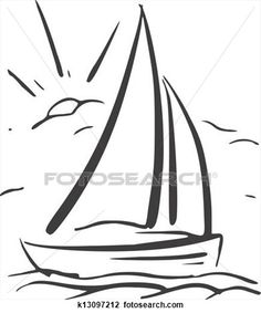 Illustration of hand drawn background with sailboat Vector vector art, clipart and stock vectors. Boat Painting, Painting & Drawing, Child Draw, Sailboat Drawing, Sailing Tattoo, Art Drawings For Kids, Kirigami, Applique Quilts, Line Drawing