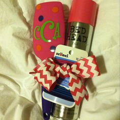 Cute teen girl gift! Monogrammed hairbrush (I used my cricut), hairspray, and ponytail holders. Tied together with hair ribbon.