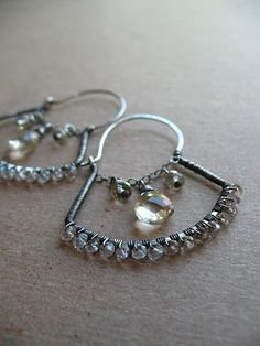 Jewelry show today, yay!    Hand-made sterling wires with scapolite and brown topaz sparkles.
