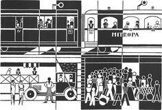 """Gerd Arntz's """"mitropa"""" :: isotype pictogram :: black & white"""