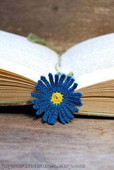 Crochet Flower Bookmark Blue Aster Handmade ♥ by joyoustreasures