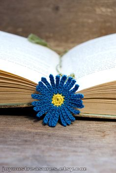 idea Crochet Flower Bookmark Blue Aster Handmade Bookmark