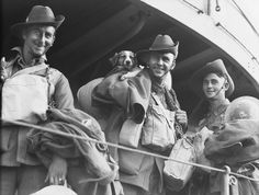 Members of the 2/48th Battalion, 9th Australian Division, with a pet dog, after evacuation from Tobruk (North Africa) on the ship Kingston in 1941. #WWII