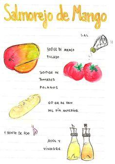 Gastro Andalusi: Salmorejo de Mango con queso , cominos y tomates secos. Dairy Free Recipes, Great Recipes, Food Sketch, Tapas Bar, Tasty, Yummy Food, Cooking Recipes, Healthy Recipes, Exotic Food