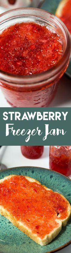 this strawberry freezer jam could not be easier to make, and it only requires three ingredients! | goldenbrownanddelicious.com