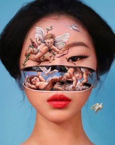 """2019 """"Falling Angels"""" - make up artist From South Korea Dain Yoon applies make up on her face creating this surreal illusion Aesthetic Makeup, Aesthetic Art, Dain Yoon, Optical Illusions Faces, Figurative Kunst, Make Up Art, Artistic Make Up, No Photoshop, Korean Makeup"""