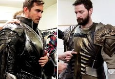 Lee Pace and Richard Armitage being fitted for their armor