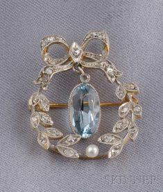 edwardian diamond and aquamarine brooch - Skinner Inc.
