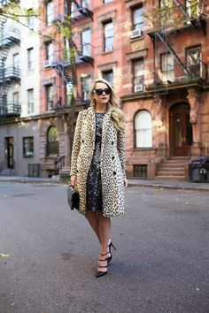 animal print coat with sequined dress