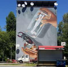 LONAC is working on his latest mural in Sisak, Croatia, 2016