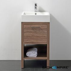 Wooden Bathroom Delamere Light Walnut 450mm Cloakroom Basin Unit - Floor Standing