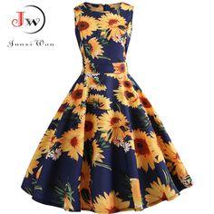 5be877471e3 Plus Size Summer Dress Women 2018 Floral Vintage Rockabilly Dresses 50s 60s   fashion  clothing