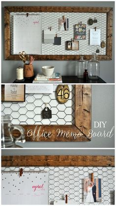 Office Memo Board - Little Glass Jar Easy DIY rustic office memo board!<br> All the details on this functional DIY Office Memo Board for our office! Great to display wedding invites and cards instead of throwing them in a pile! Easy Home Decor, Home Office Decor, Office Ideas, Rustic Office Decor, Vintage Office Decor, Office Decorations, Diy Home Projects Easy, Wedding Decorations, Board Decoration