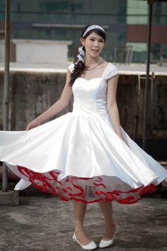 Ready to ship Sample-- 50's vintage inspired Beaded Tulle tea length wedding dress. $118.00, via Etsy.