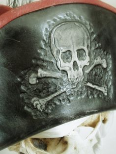 Black n Red Leather Pirate Tricorn Hat with SKULL N by pirateswife