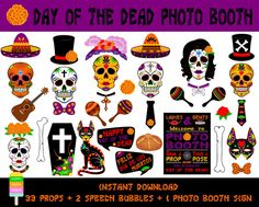 Day Of The Dead Photo Booth Props–36 Pieces (33 props,2 speech bubbles,1 photo booth sign)-Mexican Dia De Los Muertos Props-Instant Download