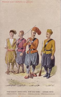 Ottoman Turkey, Costumes, Medjmouaï Teçavir Fruchtermann No. Military Art, Military History, Military Uniforms, Turkey History, Empire Ottoman, Turkish Soldiers, Ottoman Turks, Muslim Culture, Sultan