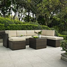 Have to have it. Crosley Palm Harbor 8 Piece Outdoor Wicker Conversation Set - $1299 @hayneedle
