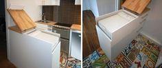 Top-Loading Washing Machine Hidden in the Kitchen