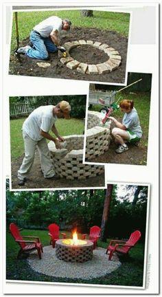 Backyard Trees, Fire Pit Backyard, Backyard Landscaping, Backyard Seating, Landscaping Ideas, Cheap Fire Pit, Diy Fire Pit, Fire Pits, Concrete Patios