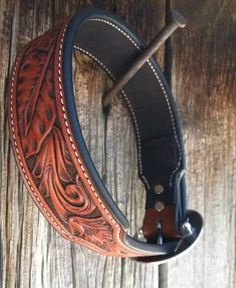 """Custom Leather Floral Tooled Dog Collar by Neely Saddlery """"Cowbiter Collection"""""""