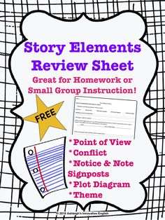 FREE - Story Elements Review Worksheet  Use with any short story. Great for homework or small group instruction! Cvc Worksheets, Worksheets For Kids, Free Stories, Short Stories, Notice And Note, Plot Diagram, Printable Mazes, Story Elements, My Teacher