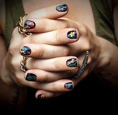 Nails: Black Fiji Floral Manicure  Inspired by: Motel Rocks Jordan Skinny Jeans