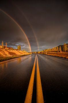 ~~Double Parked ~ double rainbow, Williamson Valley, Arizona by Bob Larson~~
