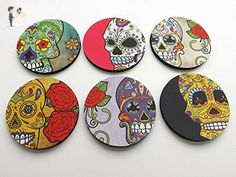 Dia de los Muertos set of 6 Coasters 3.5 inch neoprene drink beverage halloween day of the dead sugar skulls home decor - Wedding favors (*Amazon Partner-Link)