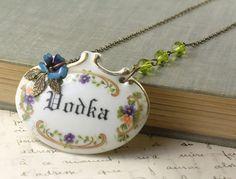 Vodka necklace brass vintage porcelain floral crystal antique style victorian