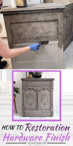 Today I'm sharing How To Create a GREIGE Restoration Hardware Paint Finish using only 2 Paint Colors! Decoupage Furniture, Diy Furniture Projects, Paint Furniture, Repurposed Furniture, Furniture Design, Furniture Stores, Dresser Furniture, Modular Furniture, City Furniture