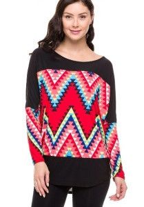 Chevron Print Dolman Top! Popular chevron print with colorblocking. $30. reallyroxie.com