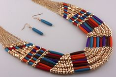 Kameron Festive and Gold Statement Necklace and Earring Set - #TheShoppingBag. Great with a simple white t-shirt and jeans.