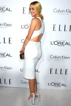 Jamie King in white Calvin Klein Collection dress to Elle's 19th Annual Women in Hollywood Celebration in Beverly Hills on October 15, 2012.