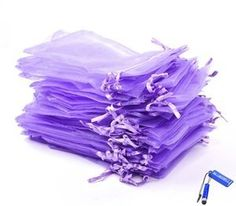 "Bluecell Pack of 50 Purple color Organza Drawstring Gift Bag Pouch Wrap for Party/Game/Wedding (4x5"") Generic"