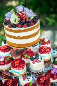 colorful wedding cakes wedding cake happines color love naked cake vintige cake birthday cake fruit cake with flower Fruit Wedding Cake, Fall Wedding Cakes, Wedding Cupcakes, Wedding Cake Toppers, Wedding Tips, Delicious Cake Recipes, Fruit Recipes, Yummy Cakes, Mini Cakes