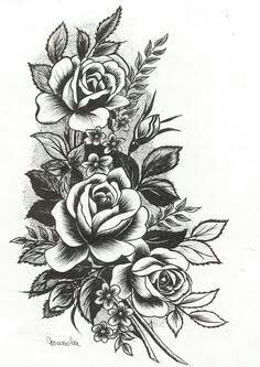 Roses! Would love to see this in traditional colors... #FlowerTattooDesigns