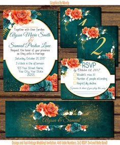 Beautiful Orange and Teal Wedding with hints of Gold! PDF, $25.00! These are  with .25 bleed! Message me on my Facebook with any questions!