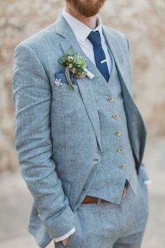 Groom Suit 2018 - 80 Trendy Groom Outfits Mens Beach Wedding Suits, Linen Wedding Suit, Tuxedo Wedding, Wedding Groom, Trendy Wedding, Vintage Wedding Suits, Wedding Tuxedos, Blue Tweed Wedding Suits, Casual Wedding Attire For Men