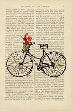 """dictionary art vintage Bicycle with Basket of Flowers no. 3 bike print - vintage art book page print - bicycle flower basket book print by ExLibrisJournals on Etsy"" Images Vintage, Vintage Art, Collages, Plakat Design, Newspaper Art, Book Page Art, Dictionary Art, Bike Art, Vintage Bicycles"