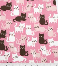 Snuggle Flannel Fabric-Pink Cats