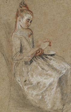 Watteau - Girl Seated with a Book of Music on her Lap