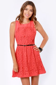 Check it out from Lulus.com! The Cut to the Lace Coral Red Lace Dress makes it so easy to be stunning, there's no reason to beat around the bush! Chic woven fabric keeps it classic with a sleeveless cut and scoop neck, while floral lace blooms throughout the bodice, elasticized waist, and feminine full skirt. Open back keyhole with top button closure sits gracefully above a series of modest peek-a-boo back slits. Belt not included. Lined. Model is wearing a size small. Top: 40�0Nylon…