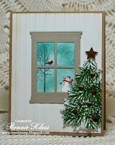 Stamping with Klass: Madison Window with a View Christmas Card with die cut window and embossing folder.